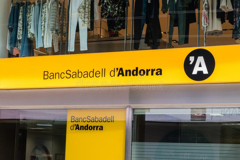 BancSabadell d`Andorra in Andorra. Andorra, Andorra - June 3, 2019: BancSabadell d`Andorra stock photography