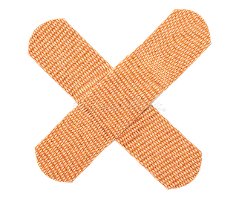 Band-aid. On top of another in cross (x stock photos