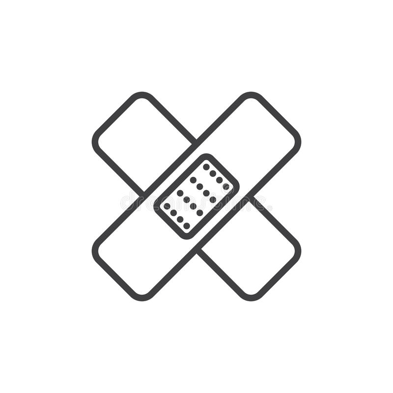 Band Aid Line Icon Outline Vector Sign Linear Style Pictogram