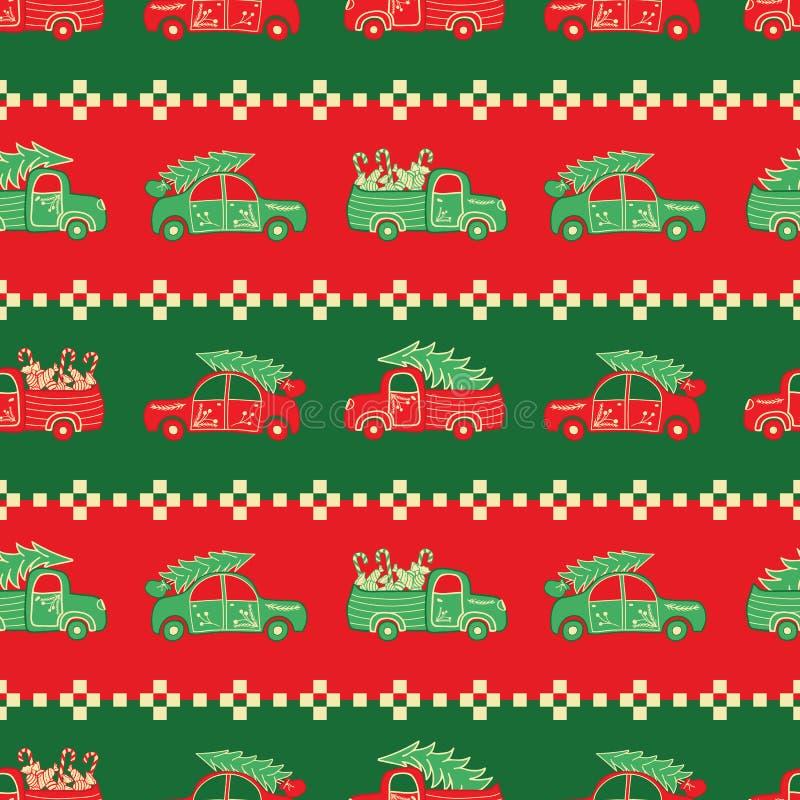 Band av jullastbilar i vektormodell för röda och gröna färger stock illustrationer