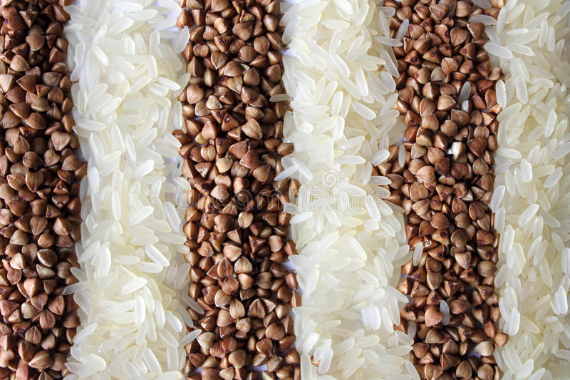 Band av ris och bovete arkivfoton
