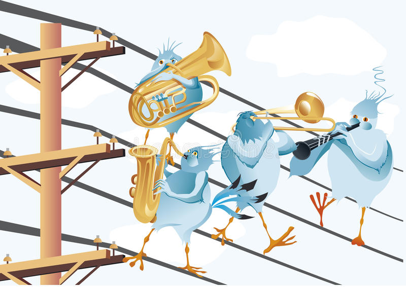 Band Of Blue Birds Make Music Stock Vector - Illustration of ...