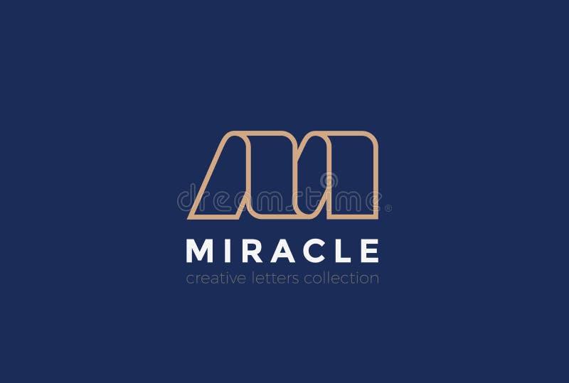 Band-Designzusammenfassung des Buchstaben M Logo linear vektor abbildung
