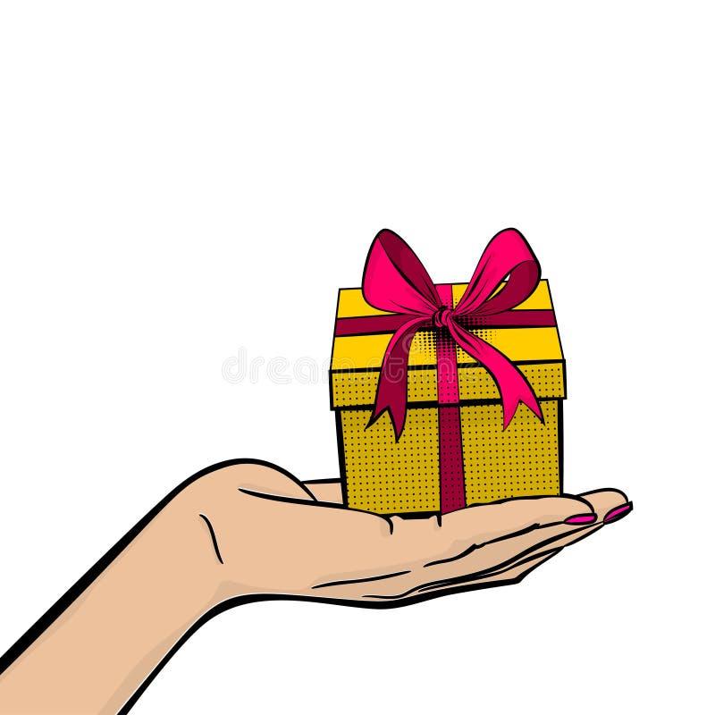 Band för ask för gåva för håll för hand för kvinna för popkonst vektor illustrationer