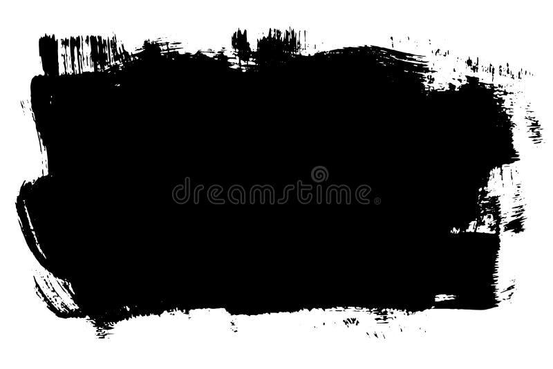 Band för borste för målarfärg för Grungehand utdraget För färgpulverborste för vektor svart slaglängd Hög detalj för målarfärgbak vektor illustrationer
