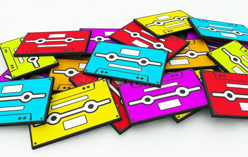 band för bunt för ljudsignal bakgrundskassett färgrikt gammalt vektor illustrationer