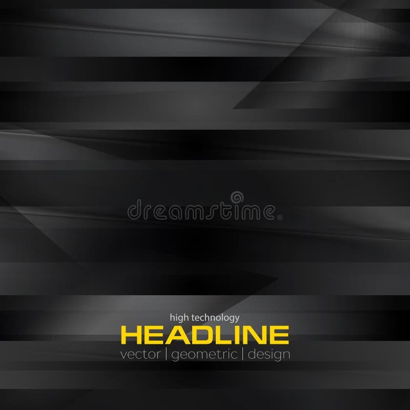 Band för Digital abstrakt bakgrund för futuristiska techsvart royaltyfri illustrationer