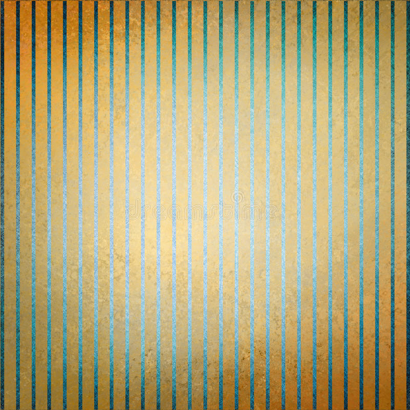 Band för guld- bakgrund för tappning blåa och bleknad gammal bekymrad textur för mitt och stock illustrationer