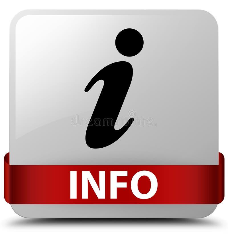 Band för knapp för vit fyrkant för information rött i mitt royaltyfri illustrationer