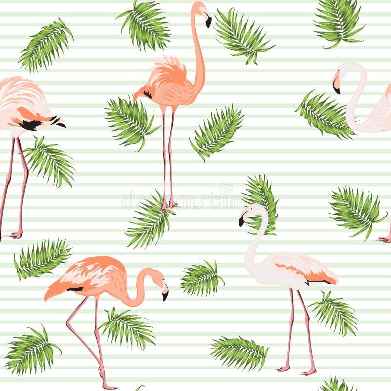 Band för modell för flamingo för palmträdsidor rosa stock illustrationer