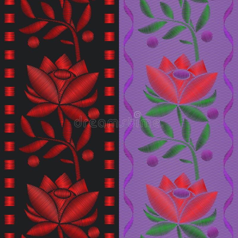 Band för modell för vektorillustrationer sömlöst med röd blommarosbroderi på textilbakgrund stock illustrationer