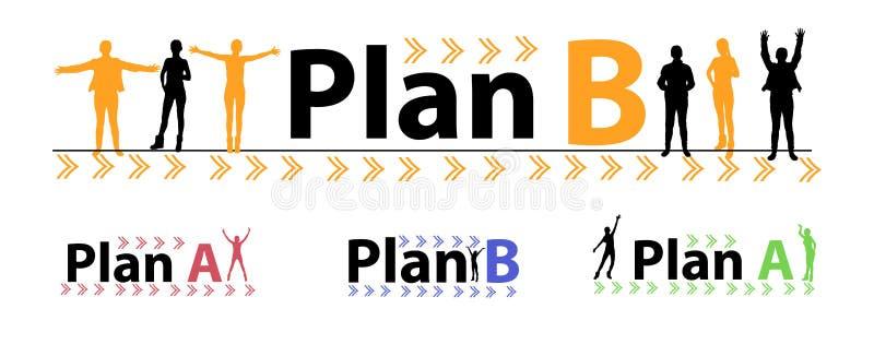 band för plan b reserv- plan silhouette royaltyfri illustrationer