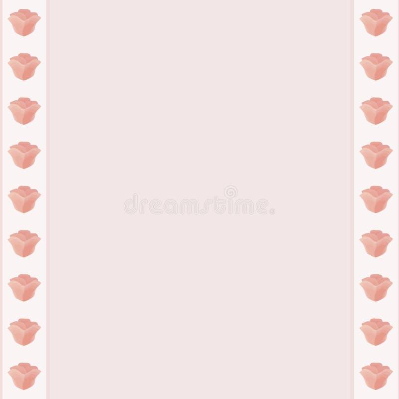Band för rosa blommor för blommaram vita runt om kantljuset - rosa purpurfärgad mellersta vektor bo för sida för dagbok för vykor royaltyfri illustrationer