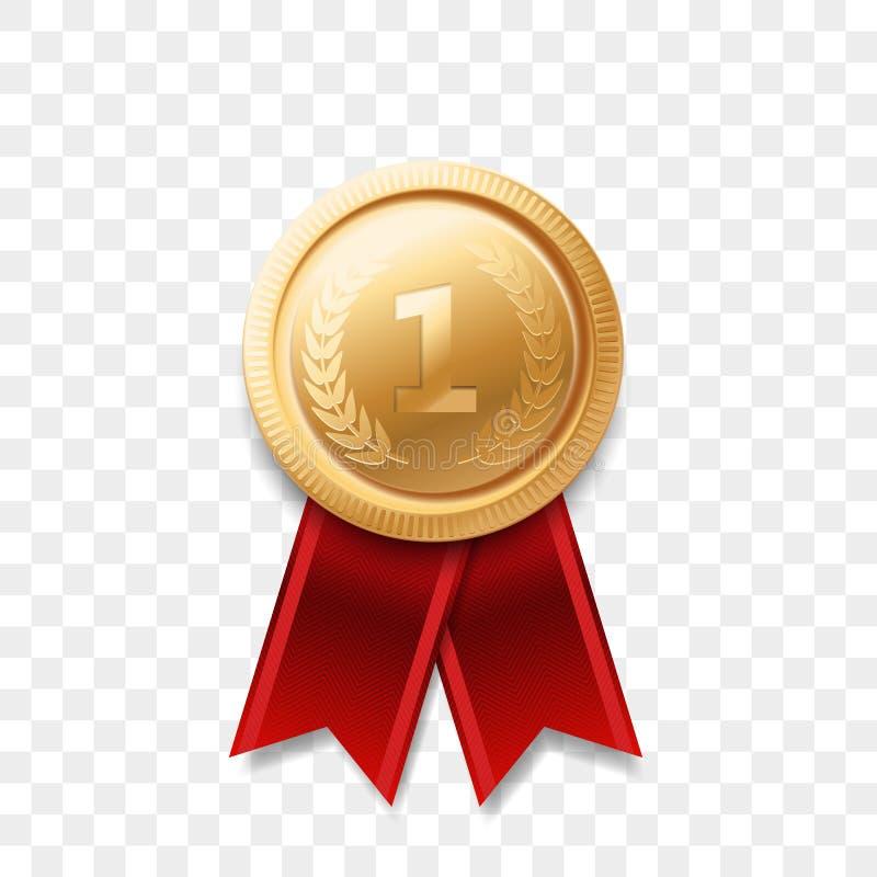 1 band för utmärkelse för vektor för medalj för ställevinnare guld- stock illustrationer