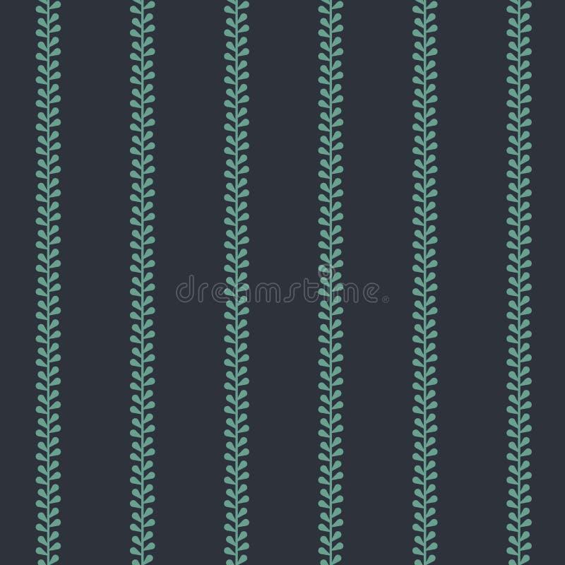 Band för vektorfolklorevintergröna på mörk sömlös modellbakgrund royaltyfri illustrationer