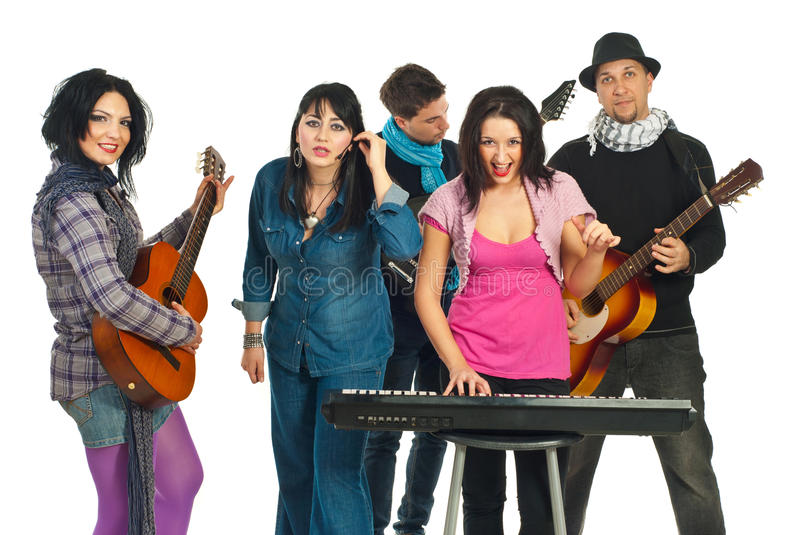 Download Band Of Five Friends Singing Stock Image - Image: 17967213