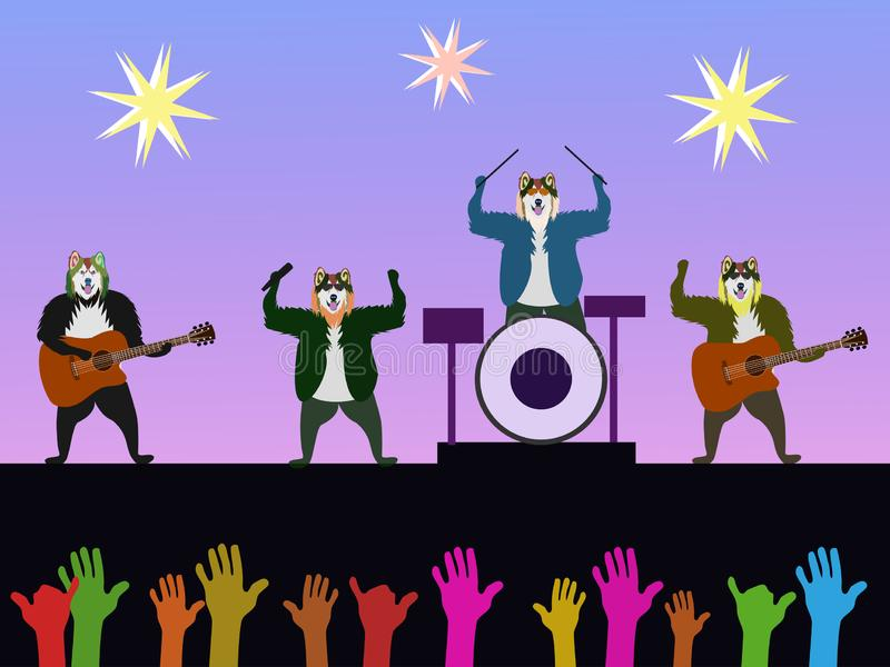 The band of four dogs is playing music on the concert stage. stock illustration