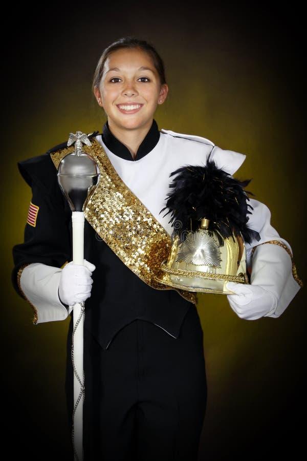 Band leader. Female high school band leader stock photo