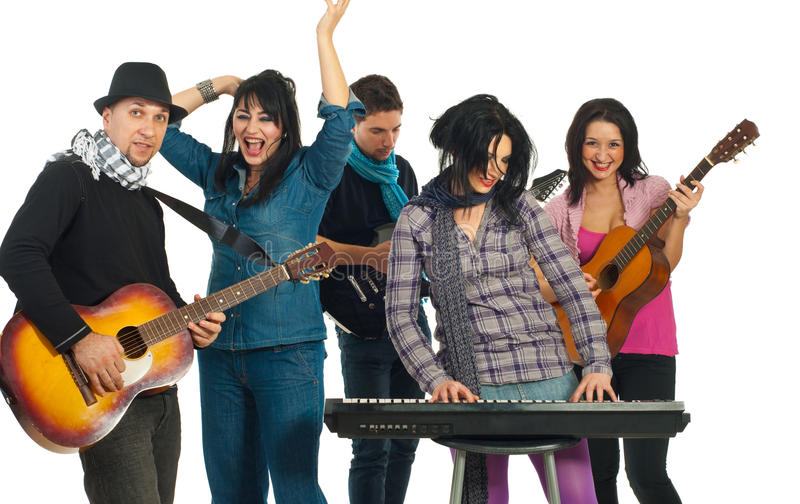 Band of musicians. Band of five musicians singing with instruments isolated on white background stock photo