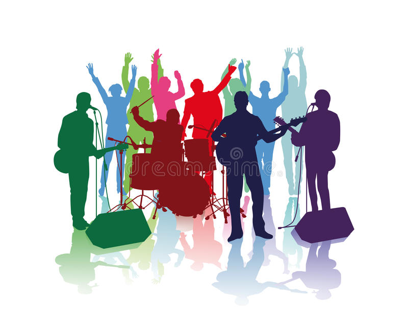 Band Musicians and Cheering Fans stock illustration