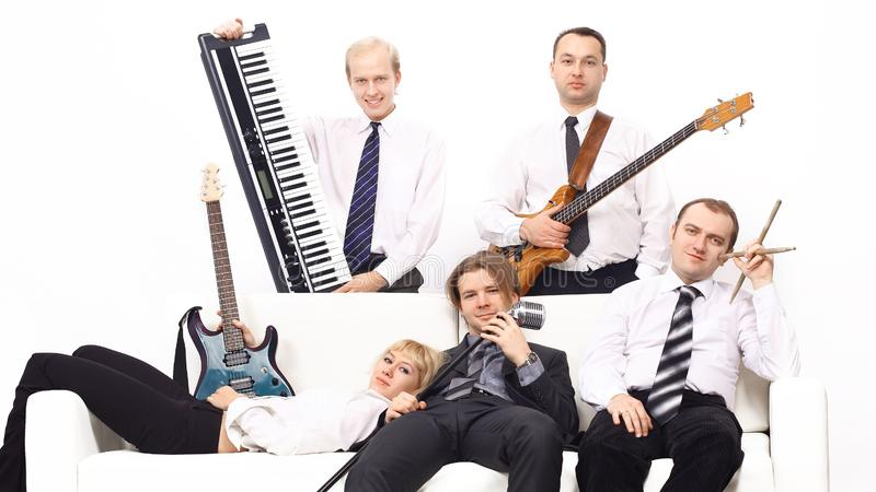 Band of musicians with instruments. isolated on white background. Photo with copy space stock image