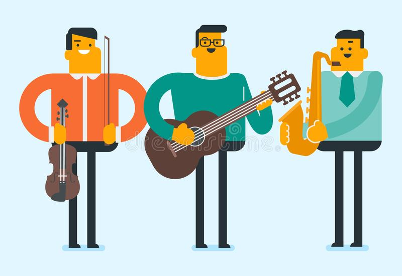 Band of musicians playing the musical instruments. stock illustration