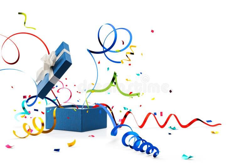 Band och konfettier som ut poppar från den blåa gåvaasken stock illustrationer