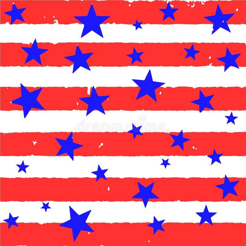 Band och stjärnor i amerikanska flagganstil Bakgrund för greeeting vykort royaltyfri illustrationer