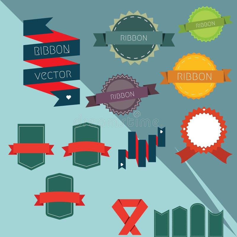 Band och vektor för etikettuppsättning vektor illustrationer