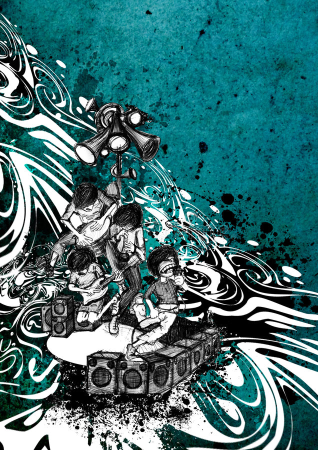 Band performance on the stage. Artistic hand drawed illustration rock band performance on the stage,abstract grunge background,party print design just put your royalty free illustration