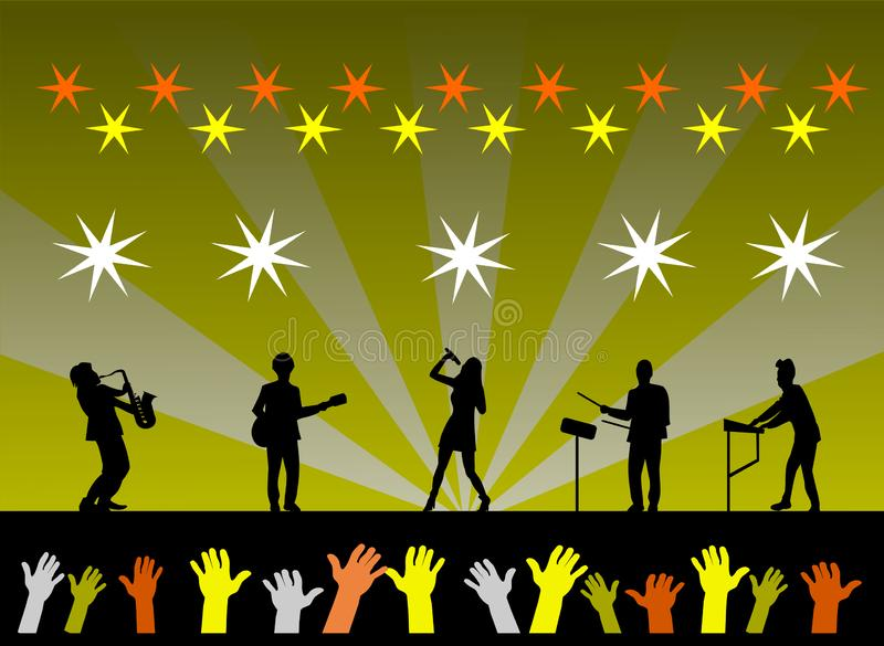 silhouette of the band is performing on stage vector illustration