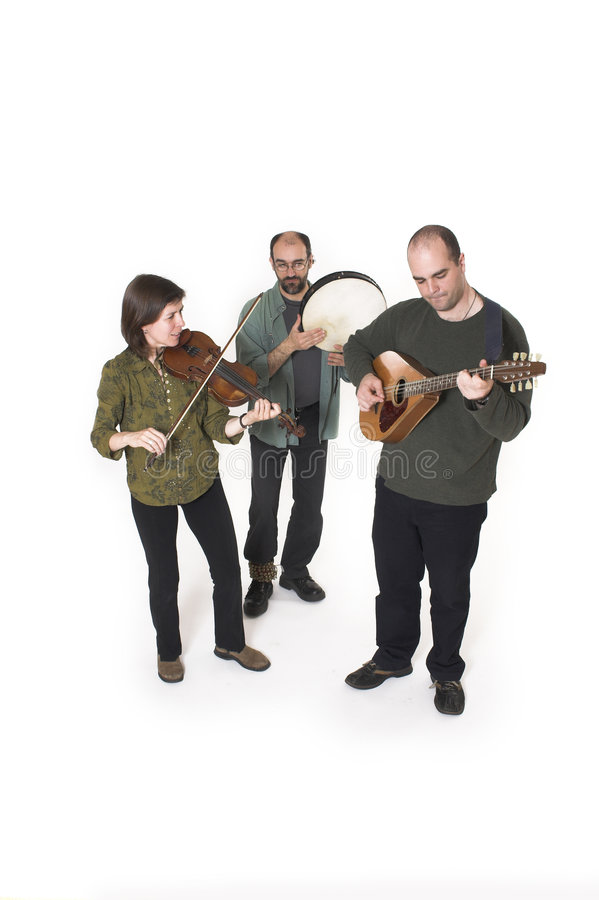 Band playing. Celtic music over white background royalty free stock photography