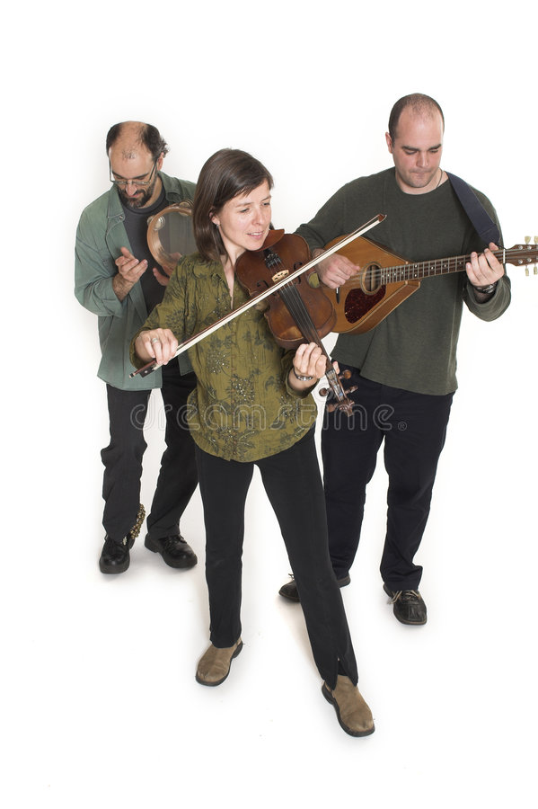 Band playing celtic music. Over white background stock photos