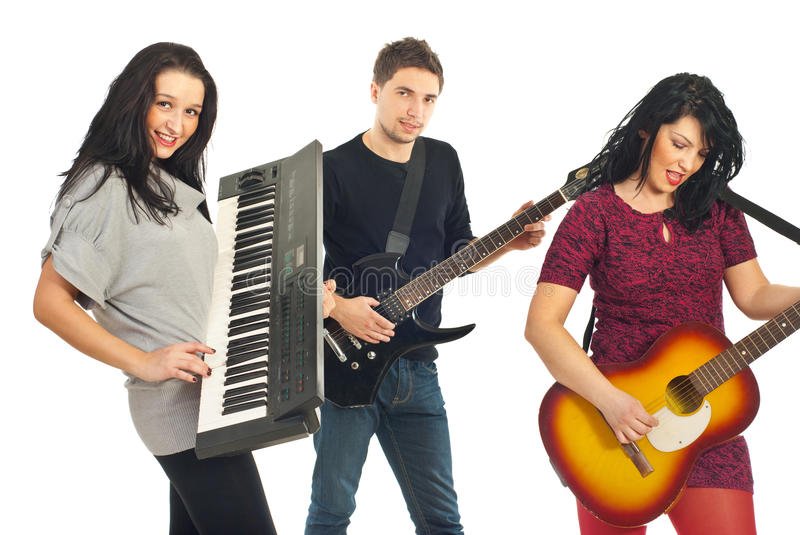 Band playing instruments. Band group of young people playing musical instruments isolated on white background royalty free stock photography