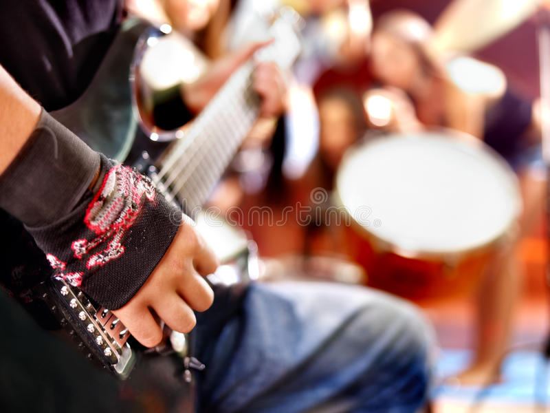Band Playing Musical  Instrument. Stock Image