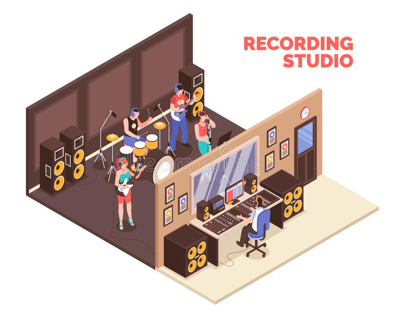 Recording Studio Isometric Illustration royalty free illustration
