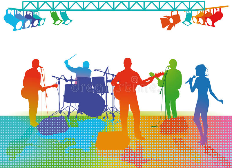 Band playing on stage stock illustration