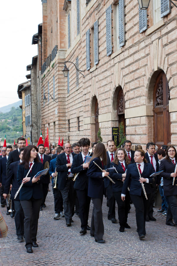Download Band Plays In The Historical Center Of Gubbio Editorial Photography - Image: 24683227