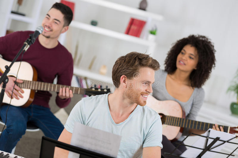 Band practice in house stock photos
