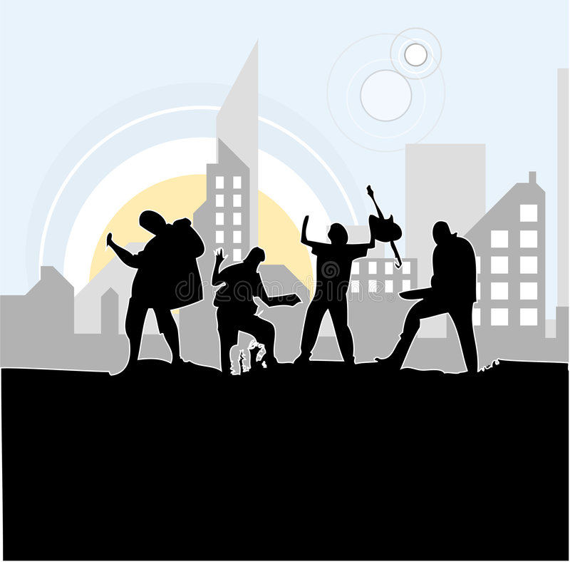 Band Rocking Out vector illustration