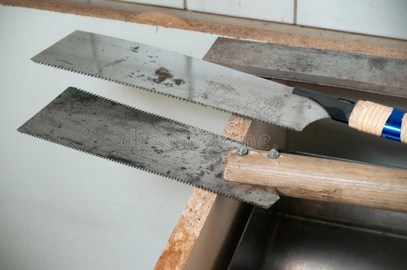 Band saw blade. Three saws for reparation stock image