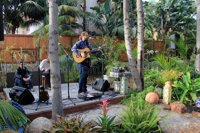 Band set up to entertain folks at benefit dinner, Foodie festival Encinitas, California, 2016. Musicians getting ready to entertain folks attending a benefit royalty free stock images