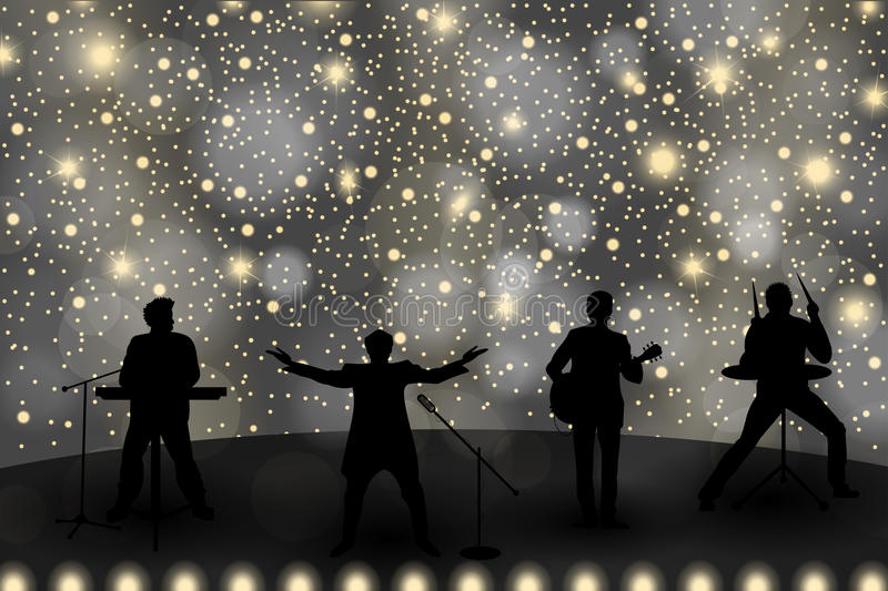 Band show concept with yellow light and stars. Set of silhouettes of musicians, singers and dancers. Vector illustration royalty free illustration