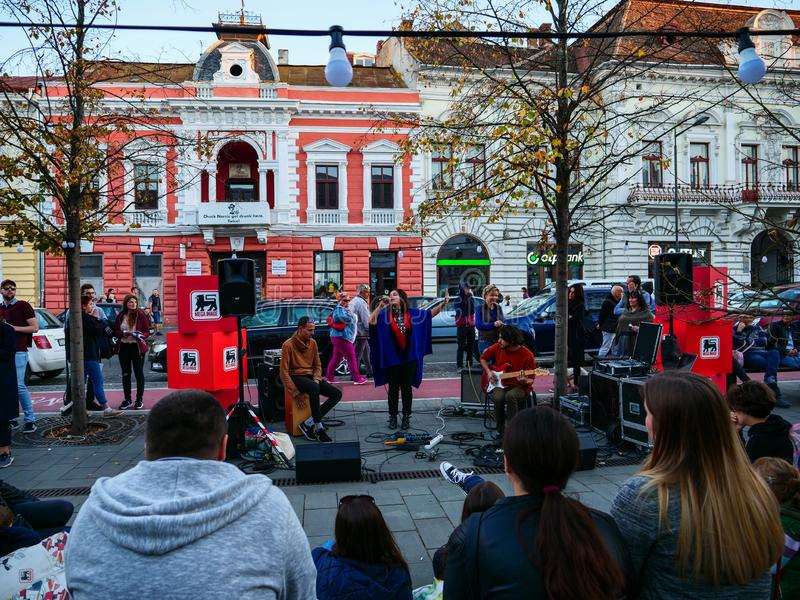 Band singing on the street royalty free stock photography