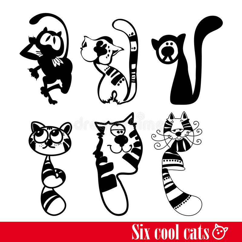 Download The Band Of Six Funkey Cats Stock Vector - Illustration of black, modern: 17421548