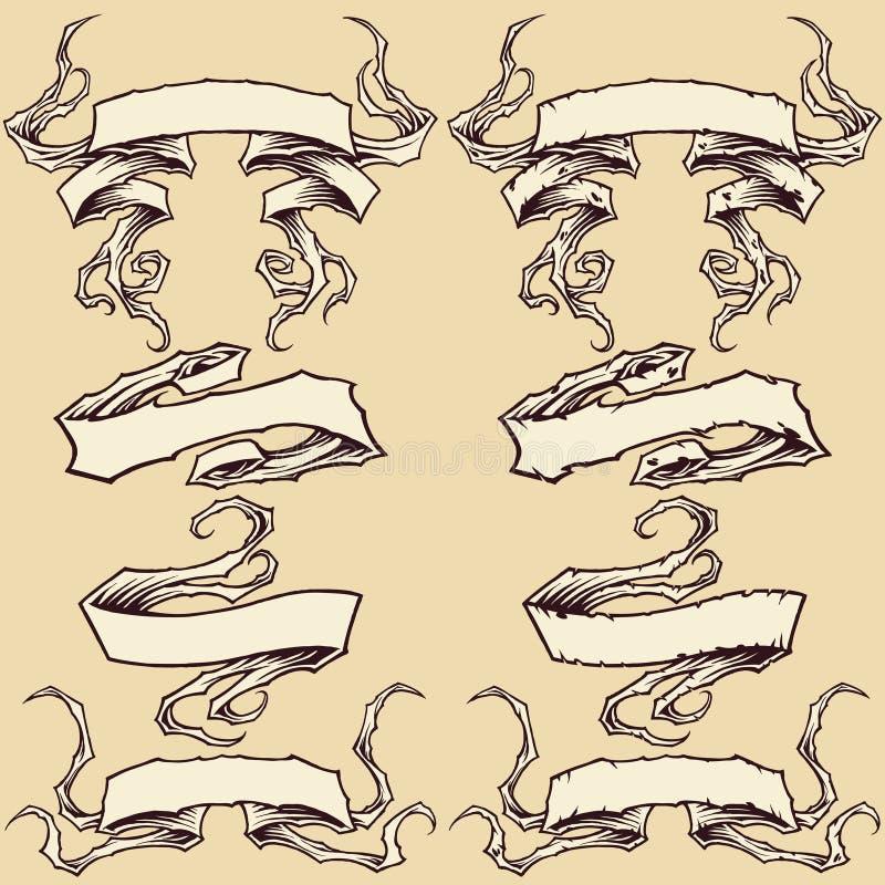 Band & skadad banduppsättning royaltyfri illustrationer