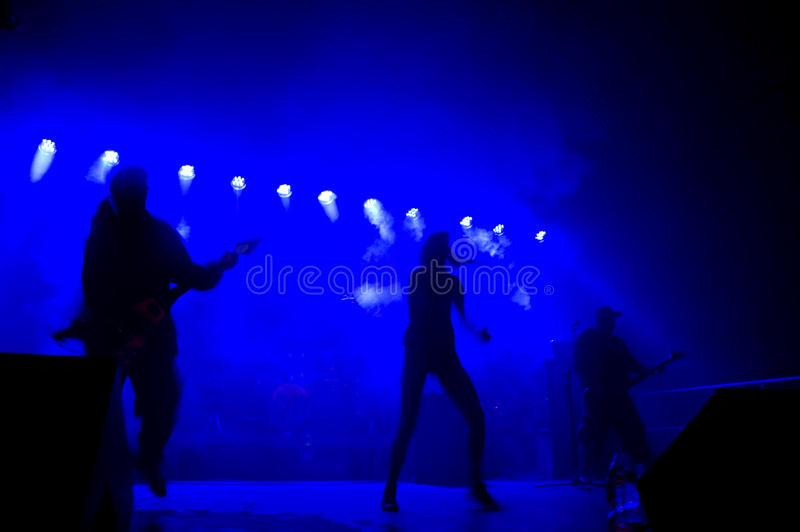 Download Band on stage at concert. stock image. Image of beat - 14901589