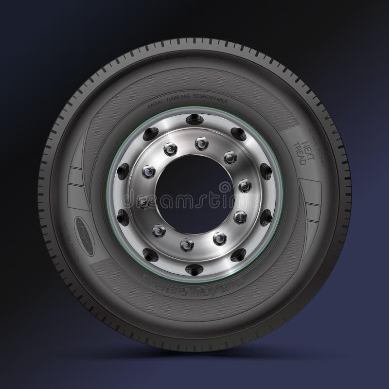 Band, band, wiel Hoog - kwaliteitsillustratie van typisch vrachtwagen voordiewiel, op kleurenachtergrond wordt geïsoleerd stock illustratie