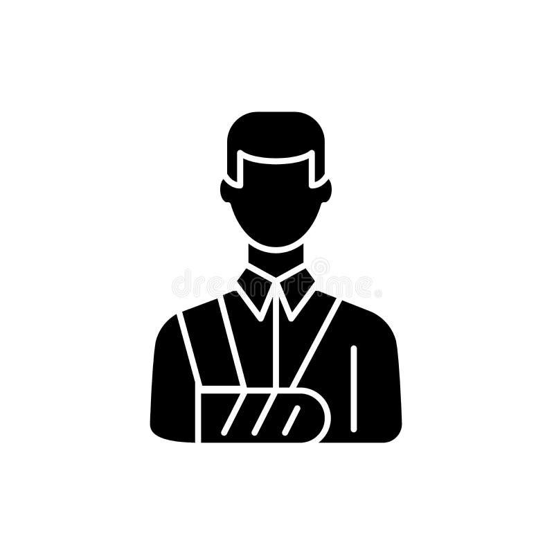 Bandażująca mężczyzny czerni ikona, wektoru znak na odosobnionym tle Bandażujący mężczyzny pojęcia symbol, ilustracja ilustracji