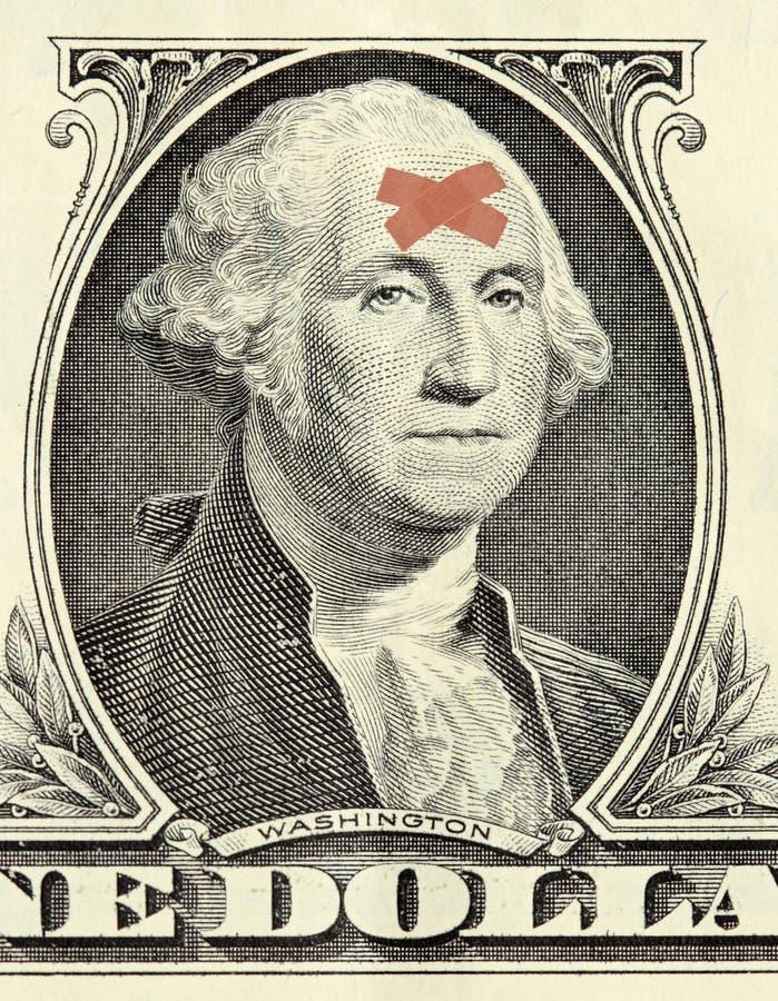bandażuje dolarowego portret Washington obraz stock